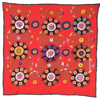 """UzbekArts """"9 TUPBARGUL"""" Vintage SUZANI antique Uzbek embroidery Tapestry Cotton"""