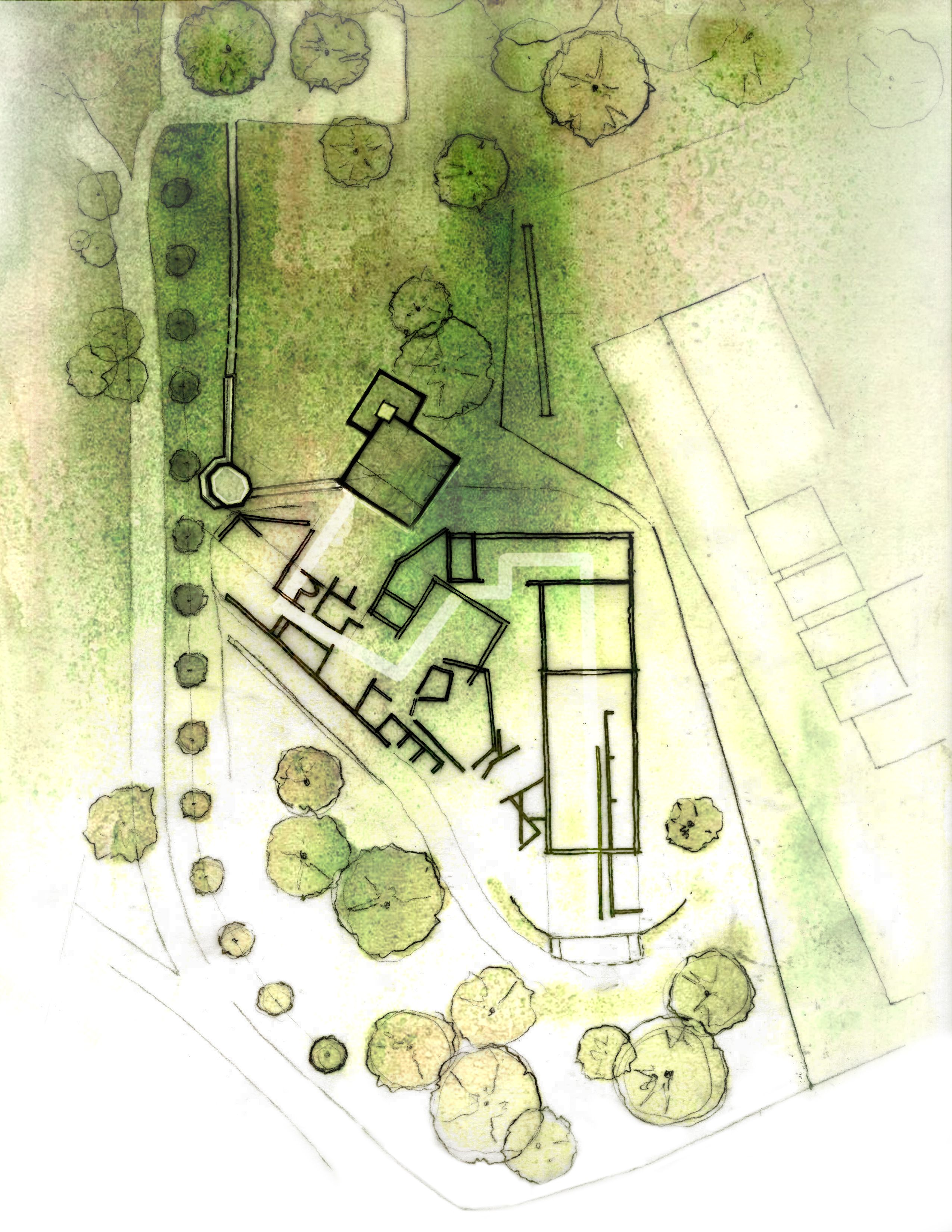Site Plan Watercolor Ink Photoshop Site Plan Drawing