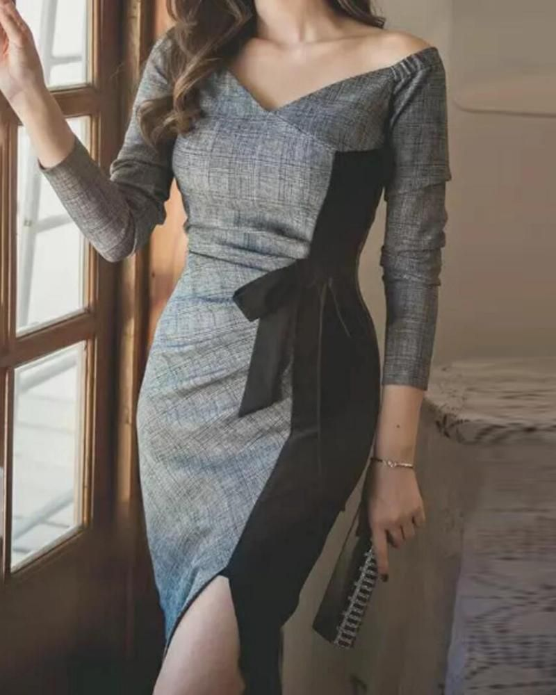 Colorblock Off Shoulder Tied Detail Slit Dress (S/M/L/XL) $31.99