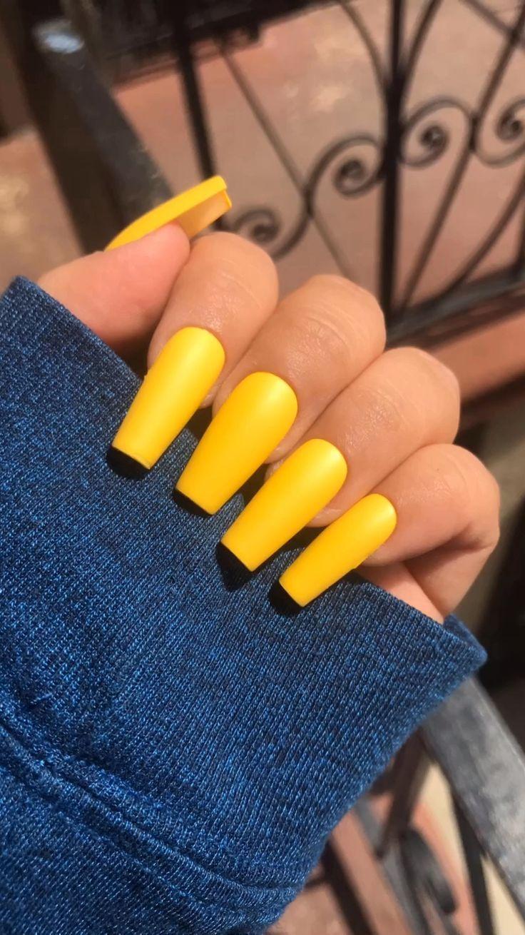 Yellownails Mattenails In 2020 Wedding Acrylic Nails Yellow Nails Coffin Nails Designs