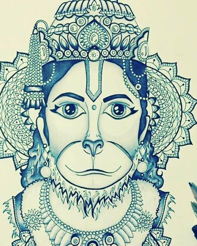 Pin by Renuka on DEVINE SKETCHS | Shri hanuman, Eye ...