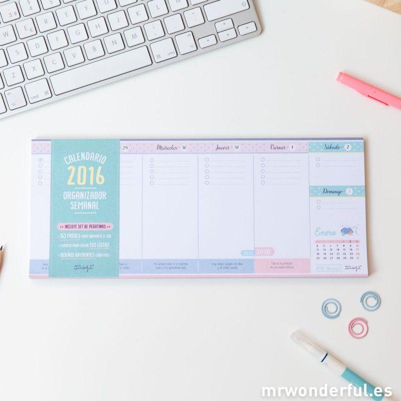 Calendario 2016 organizador semanal - também adoro este #calendar #planner #mrwonderfulshop #stationery