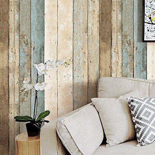 Haokhome 205 Distressed Wood Plank Wallpaper Rolls Blue B Https Www Amazon Com Dp B01n0rldr8 Ref Wood Plank Wallpaper Distressed Wood Wall Wood Wallpaper