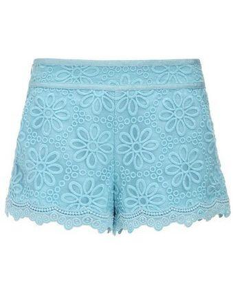 Cute! Blue Mid Waist Embroidery Chiffon Shorts #chiffonshorts