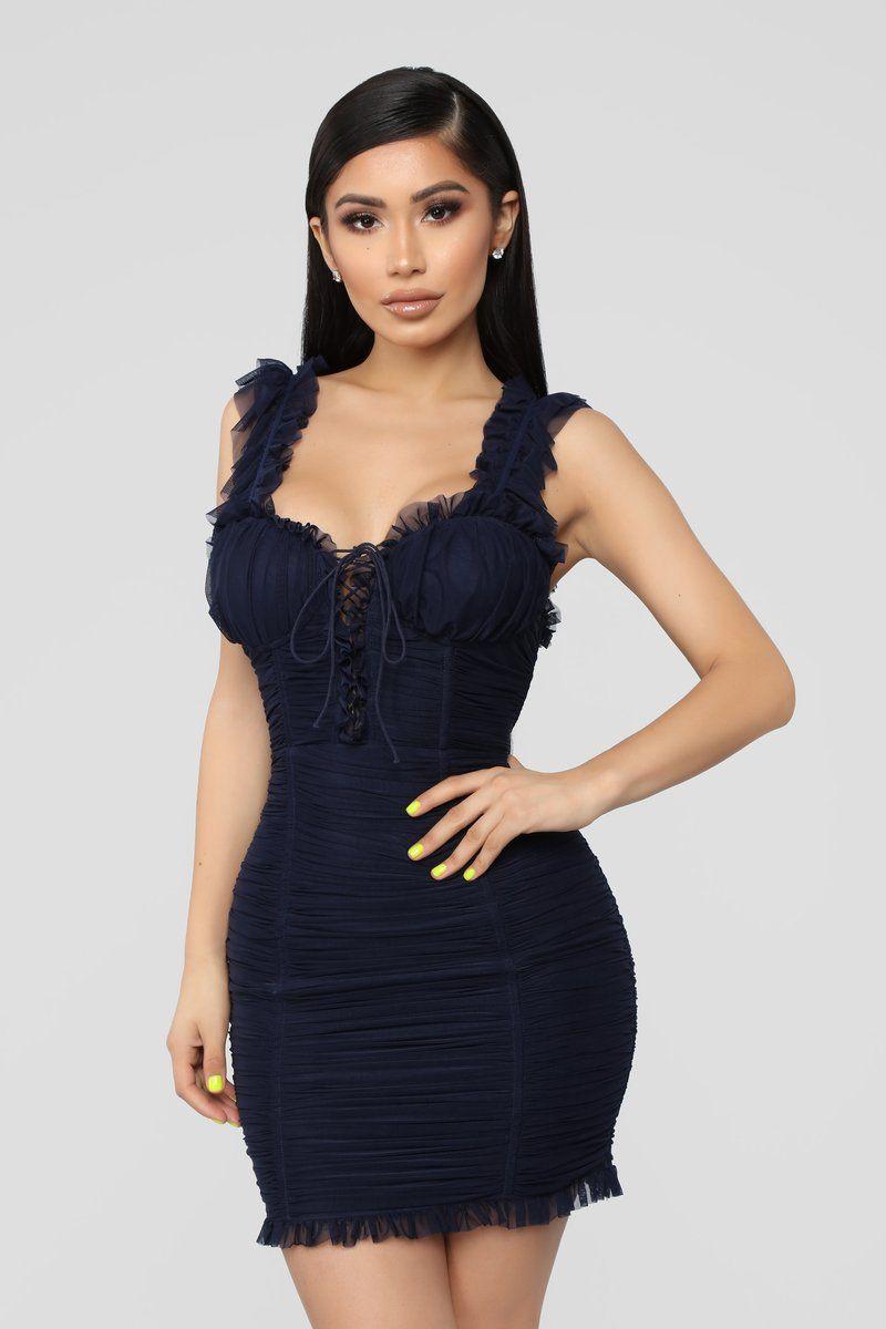 Ruff Around The Edges Ruched Dress Navy Fashion nova