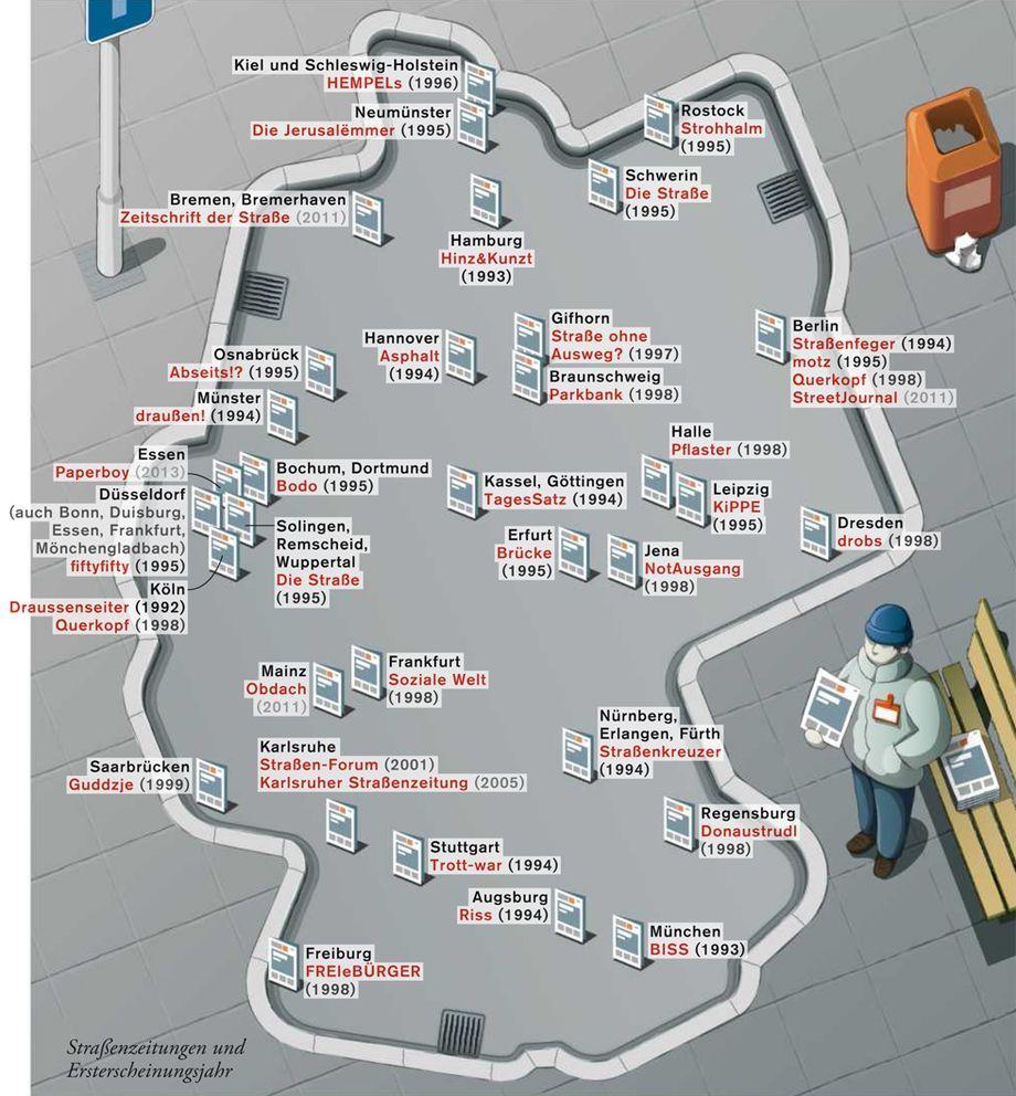 Deutschlandkarte Obdachlosenzeitungen Zeitmagazin
