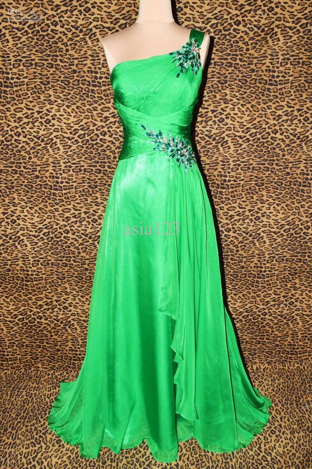 2000s Green Goddess Floor Length One Shoulder Wrap Gown With Floral Accents Stylish Prom Dress Green Prom Dress Prom Dresses Under 100 [ 1502 x 1000 Pixel ]