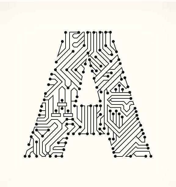 Letter A, Circuit Board on White Background vector art illustration ...