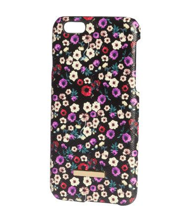 Hard smartphone case with velvet lining in a black & multi-colored floral-print. Fits iPhone 6. | H&M Gifts