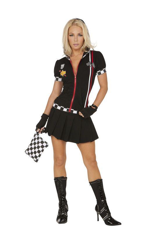 FANCY DRESS PINK PIT CREW VIXEN COSTUME / ROMPER DRIVER ...