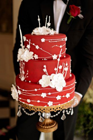 Red wedding cake -  Andie Freeman Photography