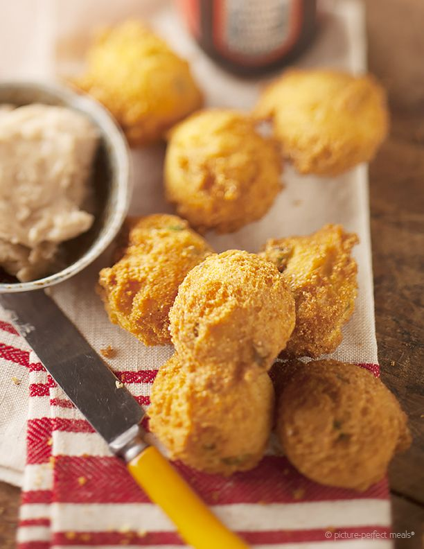Hushpuppies With Cinnamon Honey Butter Picture Perfect Meals Cinnamon Honey Butter Food Hush Puppies Recipe
