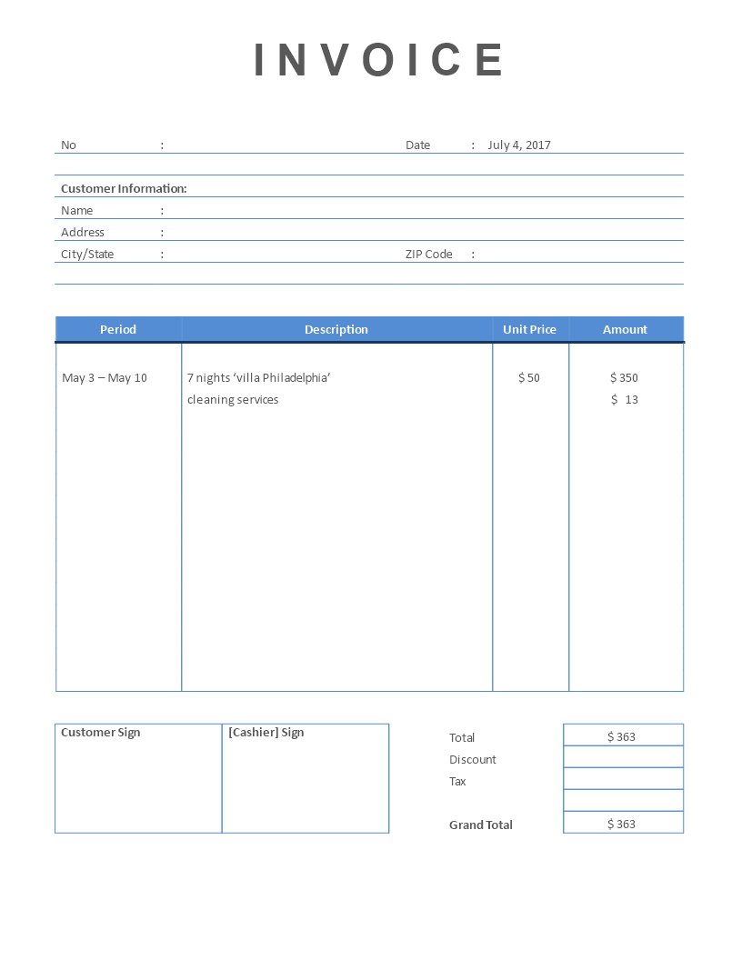 Airbnb Rental Invoice Template Invoice Template Airbnb Rentals Invoicing