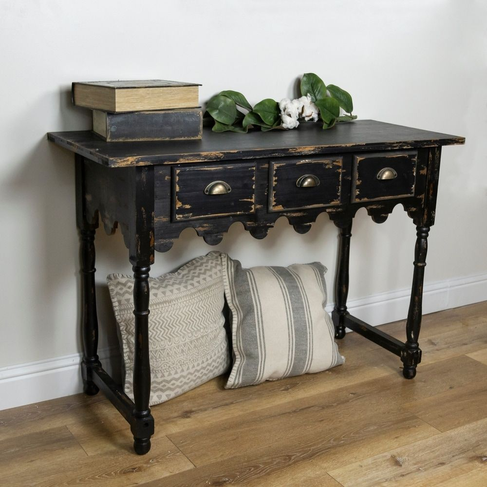 Distressed black wooden table in 2020 rustic console
