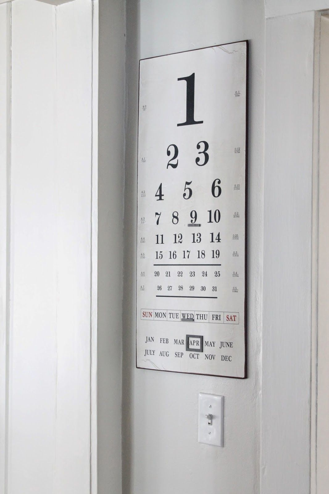 The picket fence projects set your eyes on this diy pinterest vintage eye chart metal calendar home organization gallery wall fixer upper style office decor home office cottage shabby chic industrial nvjuhfo Image collections