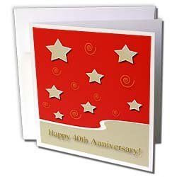 "Beverly Turner Employee Anniversary - Happy 40th Anniversary, Gold Stars on Red, Employee Anniversary - Greeting Cards-12 Greeting Cards with envelopes by Beverly Turner Photography. $15.95. Happy 40th Anniversary, Gold Stars on Red, Employee Anniversary Greeting Card is a great way to say ""thank you"" or to acknowledge any occasion. These blank cards are made of heavy duty card stock with a gloss exterior and a matte interior for smudge free writing. Cards are creased for easy f..."