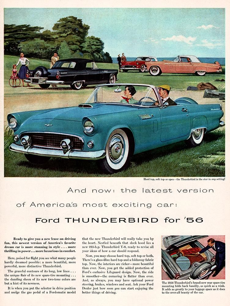 1955 Ford Thunderbird Car Ad | Vintage Full Page Ads