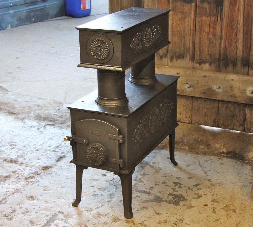 Antique Godin Scandinavian Style Wood Burning Stove