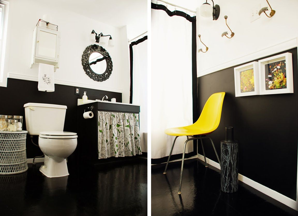 Black White And Yellow Bathroom Make Over With Images Yellow
