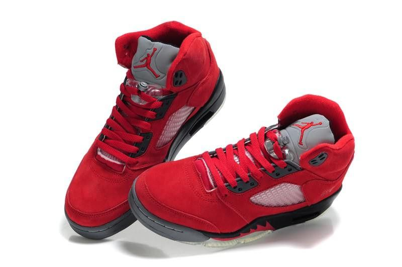 hot sale online 2a68b ae1c1 Air Jordan 5 (V) Fluff Fire Red Grey White Sports Shoes