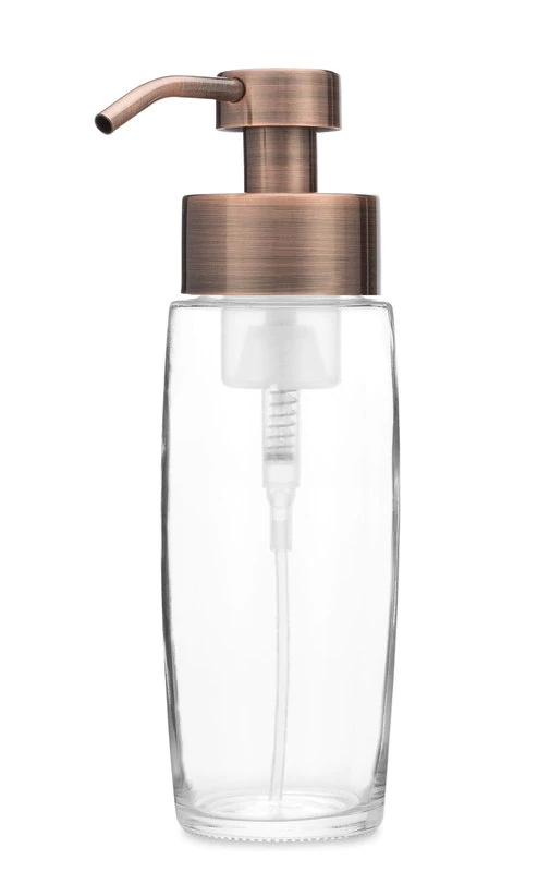 Large Glass Foaming Soap Dispenser With Copper Pump Foam Soap