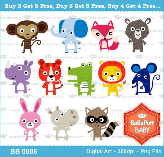 Digital Jungle Animals Clip Art Personal And Small By Babapuffbaby 5 00 February Crafts Cute Art Jungle Animals