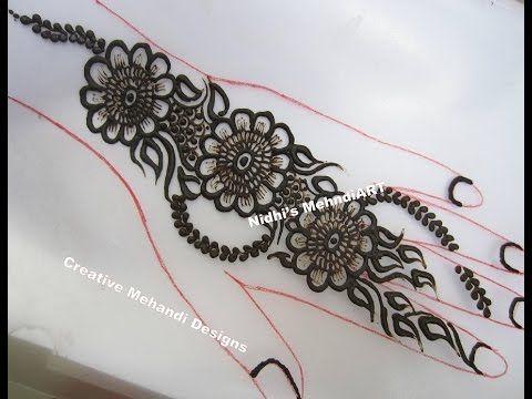 Flower Mehndi Designs On Back : Youtube arabic floral flowery flower strip henna mehndi