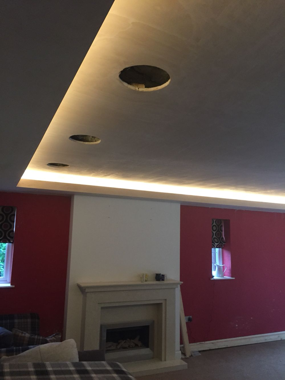 Phase 1 of recessed cove lighting in. Created box ...
