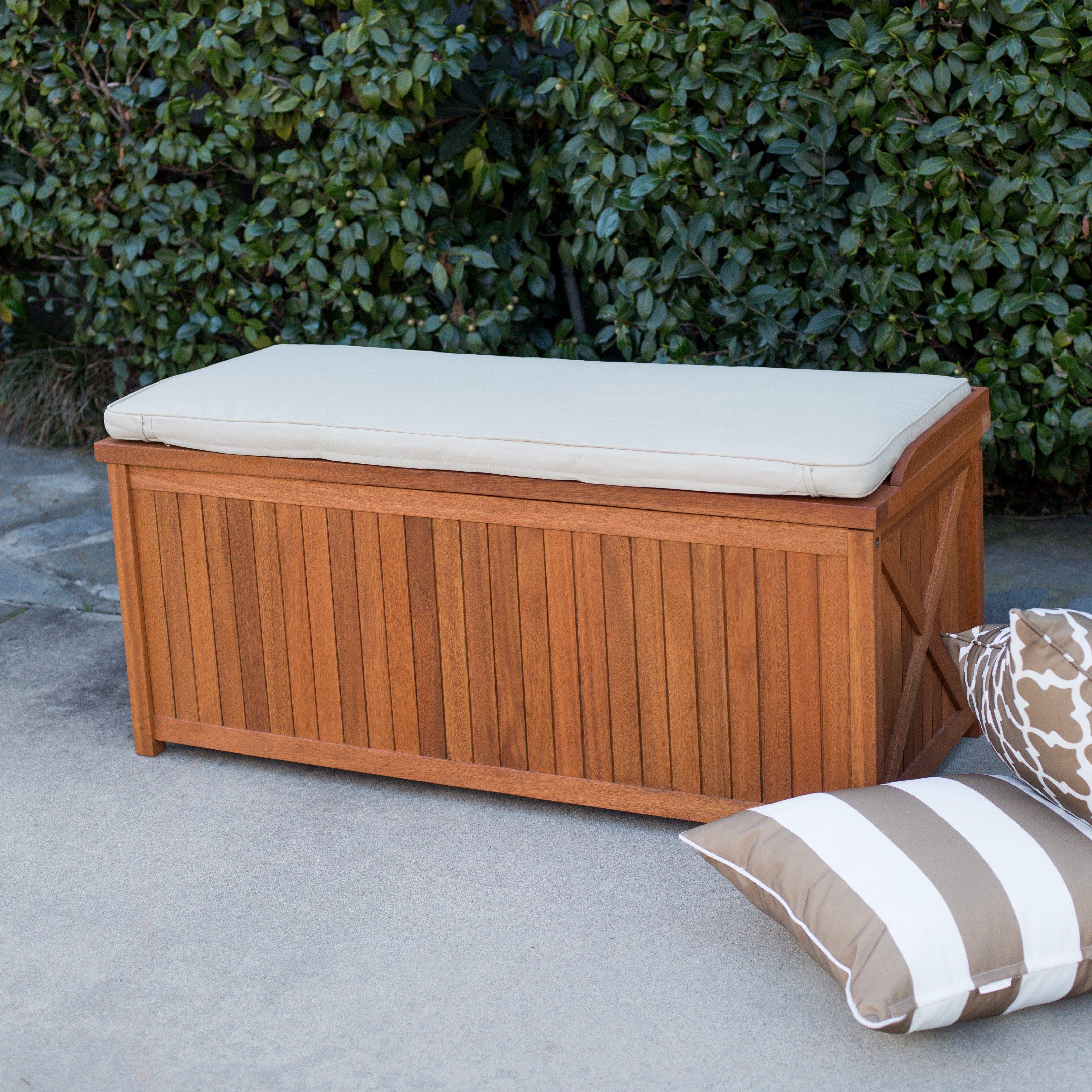 Belham Living Brighton 48 In Outdoor Storage Deck Box With Cushion Natural Outdoor Deck Storage Box Deck Box Storage Outdoor Storage Bench