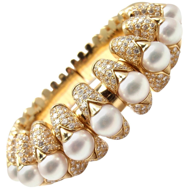 Bulgari Celtaura Diamond Pearl Gold Bangle Bracelet