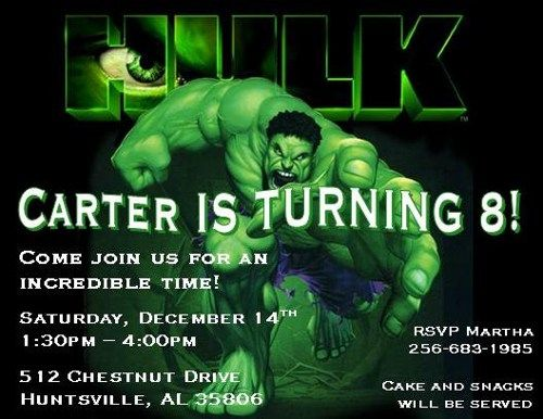 The Incredible Hulk Personalized Birthday Invitations