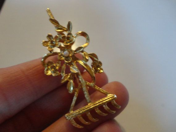 Vintage Garden Rake Pin Signed New View by bellabooovintage, $5.50