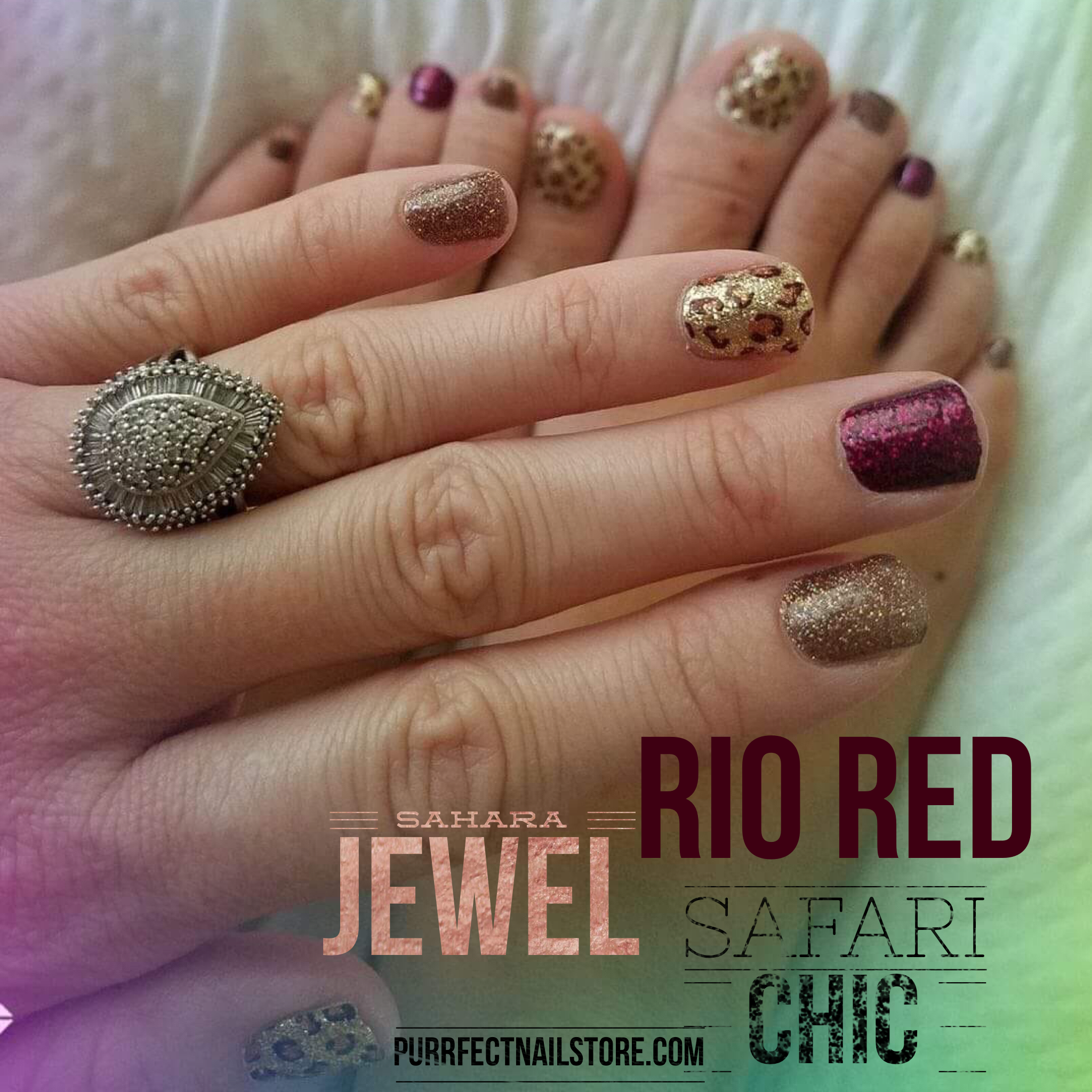 Gorgeous Combination Of Color Street Rio Red Sahara Jewel And Safari Chic 100 Real Nail