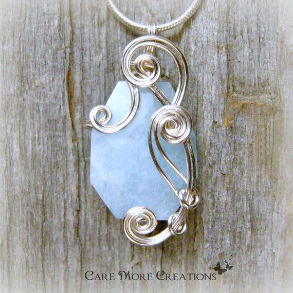 Aquamarine Wire Wrapped Pendant Necklace in Silver by CareMoreCreations.com, $29.00