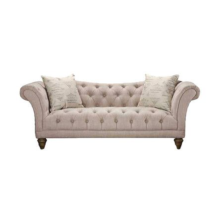 Diamond Tufted Sofa With Rolled Arms And Wood Frame Product Construction Material Hardwood Hemp Pol