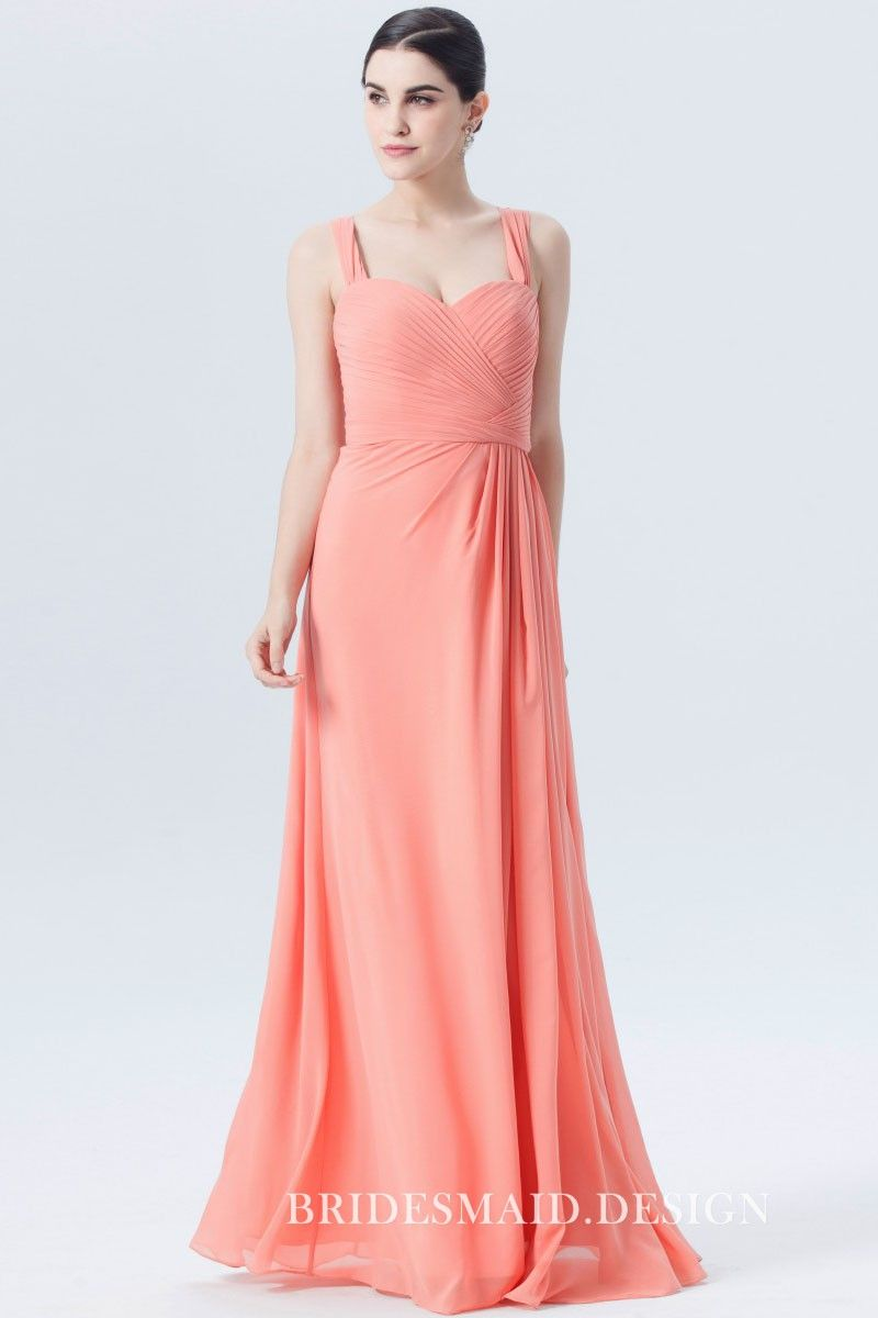 Pleated sweetheart wide strap light coral pink chiffon long