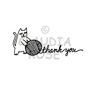 Thank You Kitty - CR3412E - Rubber Art Stamp