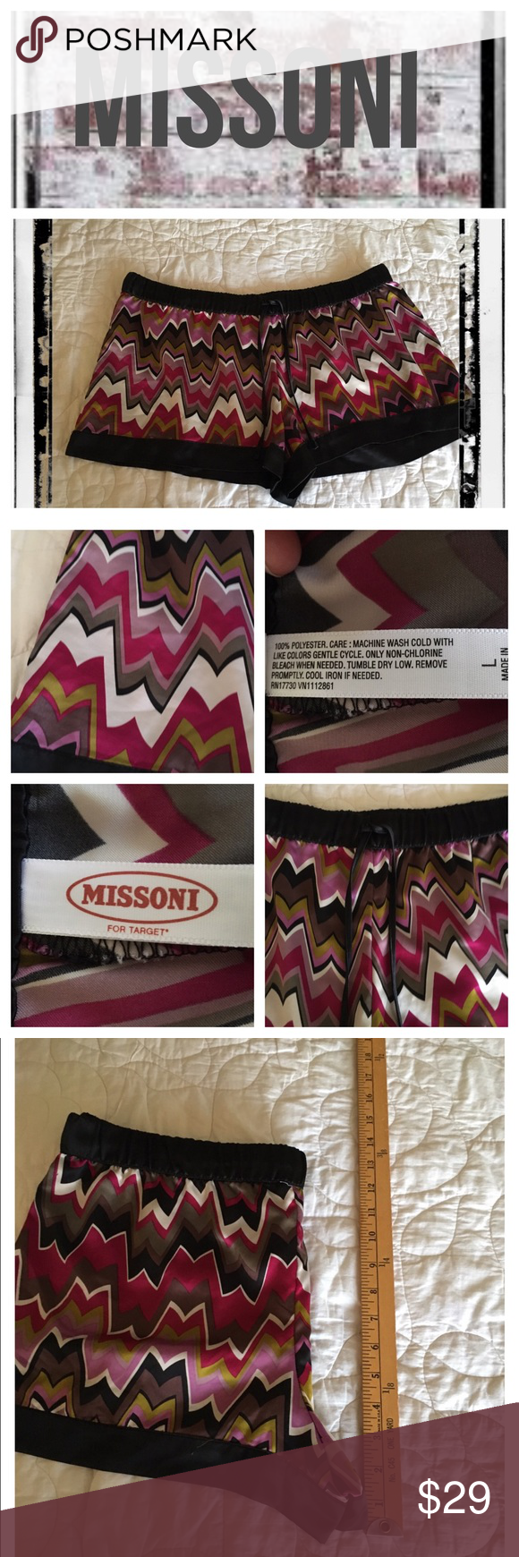 Missoni for Target Satin drawstring shorts BNWOT.                                                           REASONABLE OFFERS ONLY- -Smoke and pet free - I try to stay around 75% off MSRP; please keep this in mind when making offers.  -I do not model anything; everything looks different on everyone and I don't wasn't too Jade that. I will provide measurements if needed.  -NO HOLDS, NO TRADES, POSH RULES ONLY! Missoni Shorts