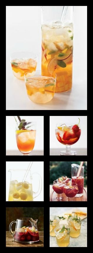 11 great Sangria Recipes.  Great for your summer parties.  Add a festive banner too.  Take a look at my party board or go to www.edertags.com