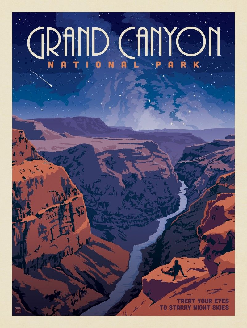 Grand Canyon National Park Star Gazing Anderson Design Group Vintage Poster Art Retro Travel Poster Vintage Poster Design