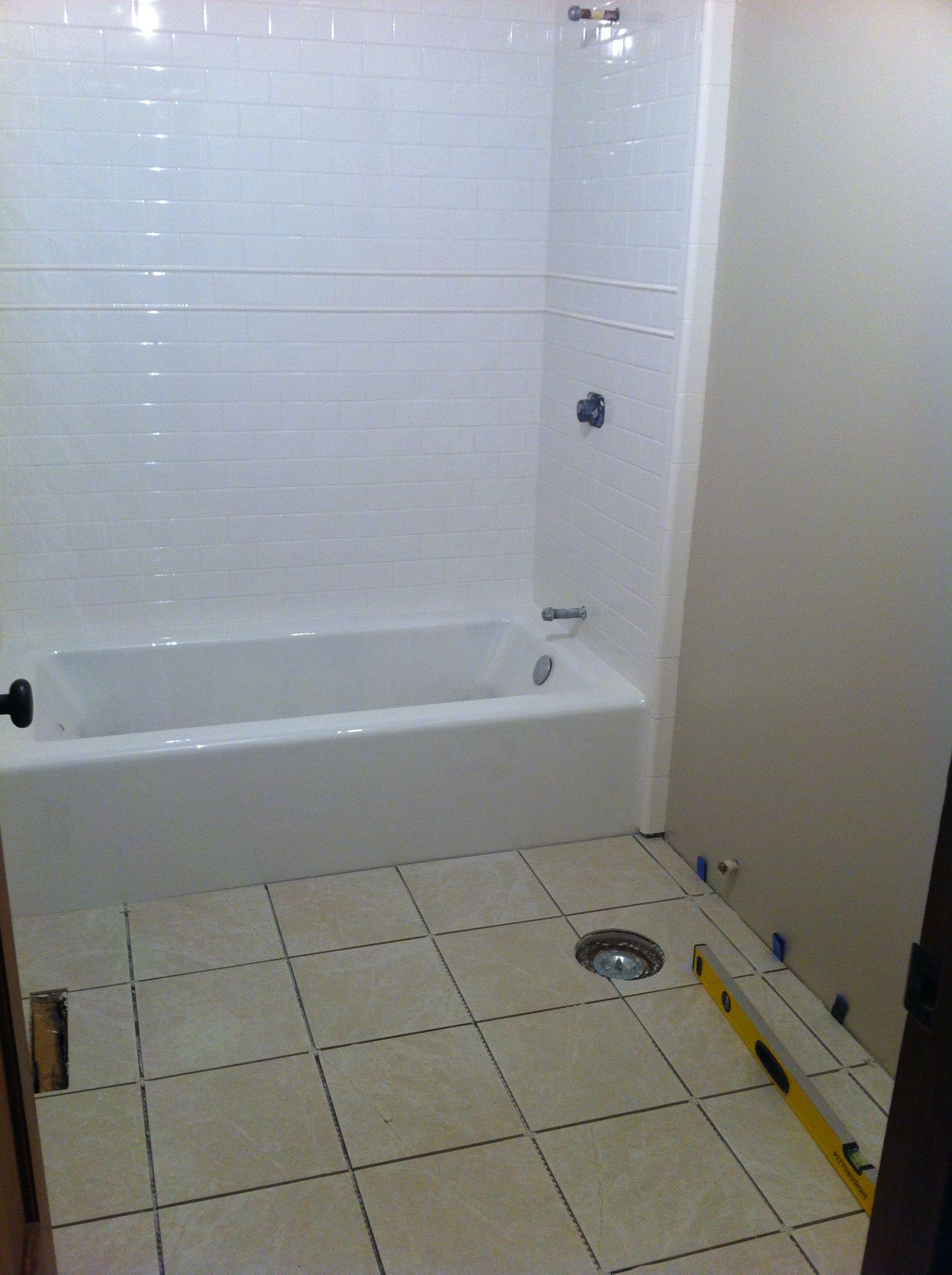 Floor Tile Is Set Grout Tomorrow Bathroom Grout