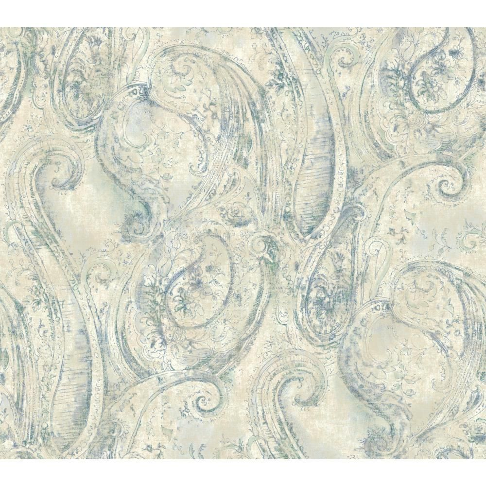 445d70f4ee SH5574 VINTAGE LUXE - York Wallcoverings Vintage Luxe SH5574 Sketched  Paisley Wallpaper in pearly cream  blue  teal  green - GoingDecor