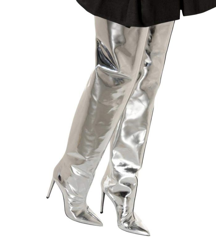 Women's Silver Thigh High Boots Superstar Shoes Pointed Toe Over the Knee Boots