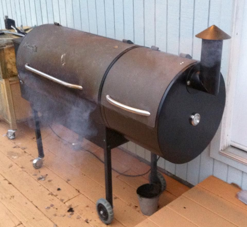 This Is The Most Important Part Of The Outdoor Kitchen My Traeger Smoker Griller With The Cold Smoke Attachment Traeger Bbq Outdoor Kitchen Outdoor Decor