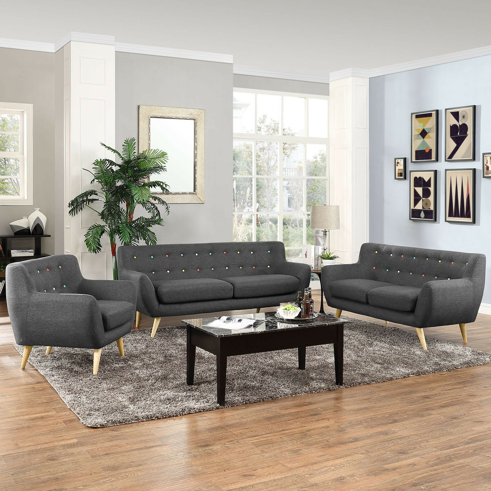 Modway Remark 3 Piece Living Room Set In Gray 889654018025 Ebay In 2020 3 Piece Living Room Set Living Room Sets Living Room Trends