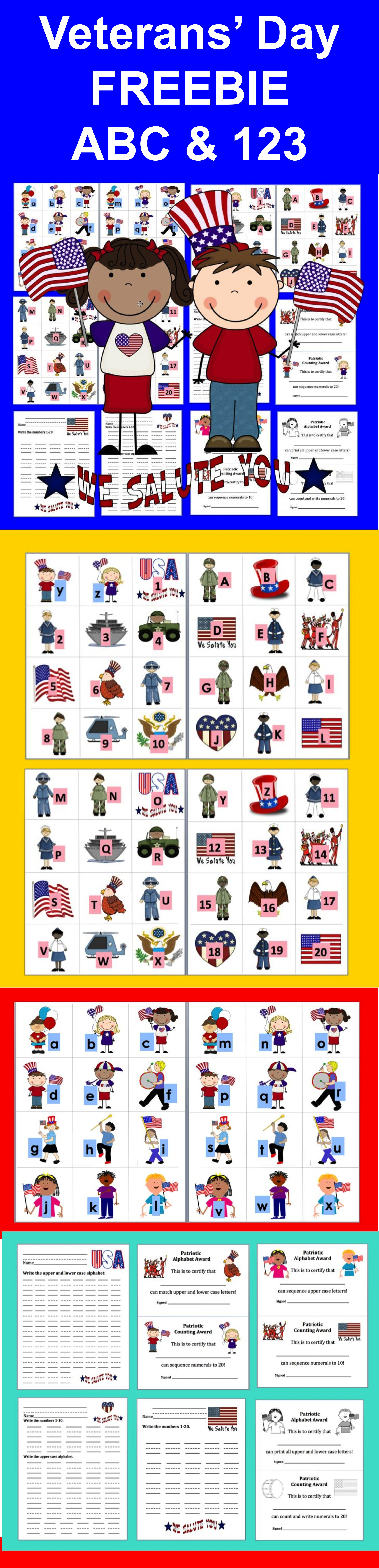 Veterans Day Alphabet And Counting Activities Freebie