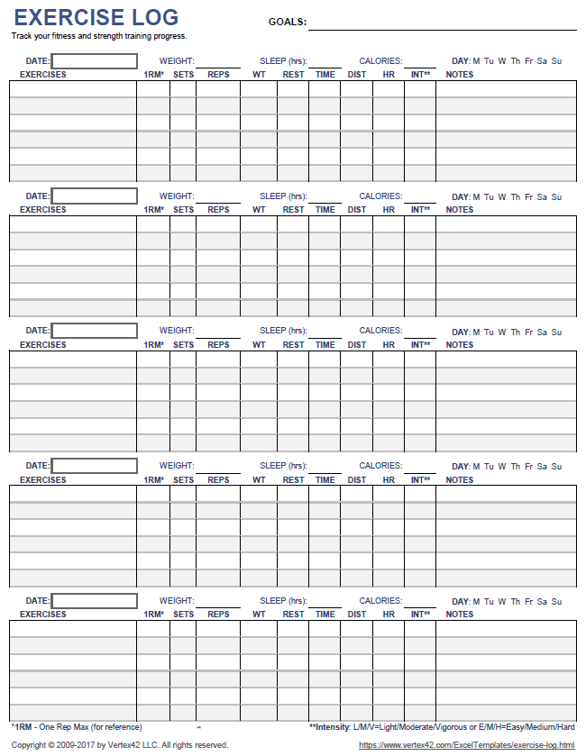 Delicate image throughout printable workout logs