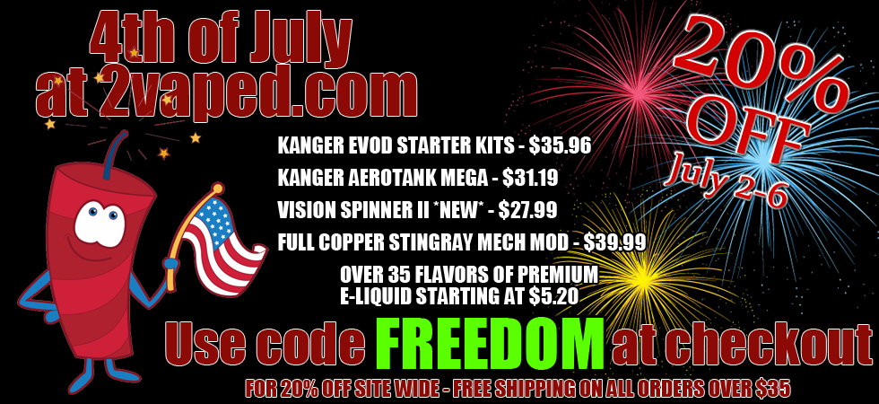 FREEDOM means 20% off at 2vaped!  Freedom is something we all love - and along with celebrating our freedom as a nation, we are all happy to celebrate our freedom from tobacco!  To make sure everyone is equipped to party this summer, we are giving everyone 20% OFF EVERYTHING at 2vaped with the code FREEDOM  #ecigs #sale