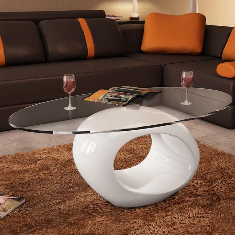 Glass round coffee table white living room bedroom