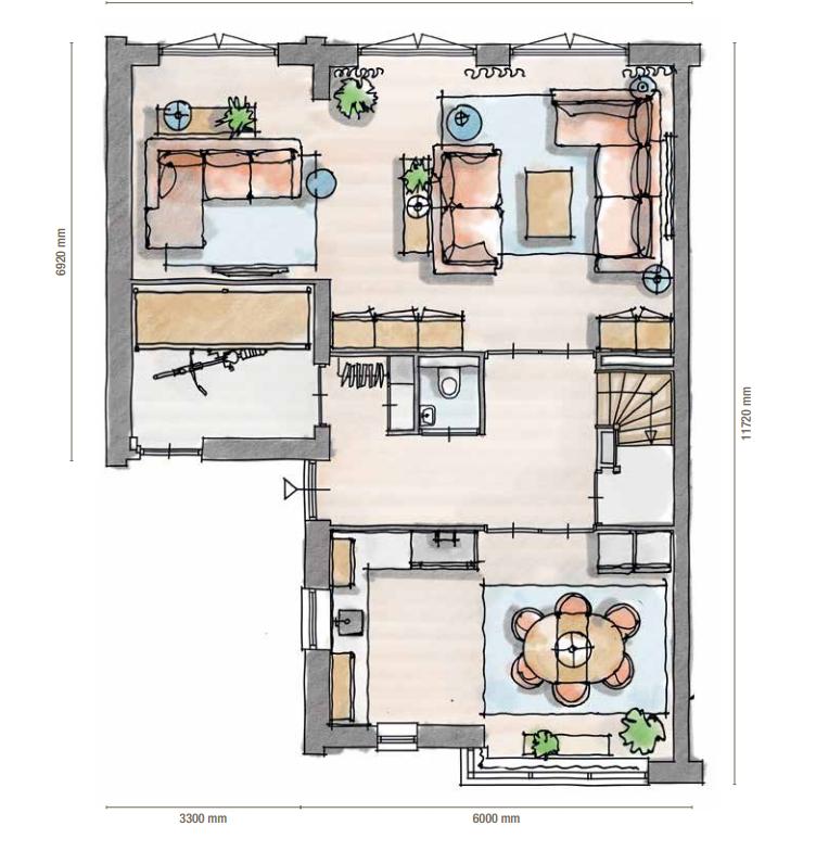 Plattegrond woonkamer - doorsnede maken | Pinterest - Plattegronden ...